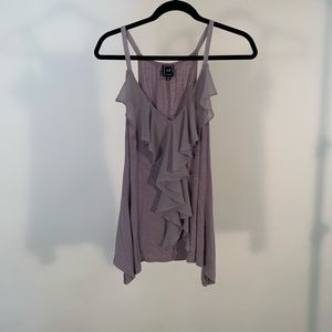 Anthropologie grey loose tank top with ruffle